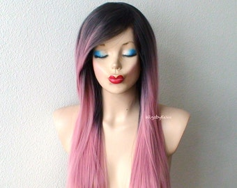 Pastel wig. Dark roots Blush pink wig. Long straight hairstyle long side bangs wig. Durable quality wig for daily use or Cosplay.