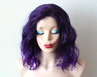 Purple wig. Ombre wig. Purple wig. Beach waves hairstyle wig. Short wig. Cosplay wig. Lolita wig.