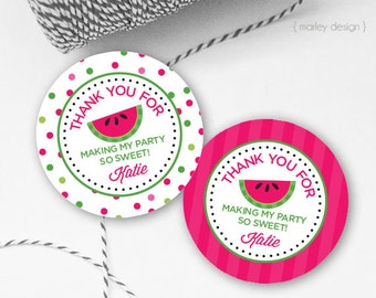 Watermelon Tags Printable Watermelon Party Watermelon Birthday Summer Birthday Tags Watermelon Favor Tags Watermelon Labels Thank You Tags