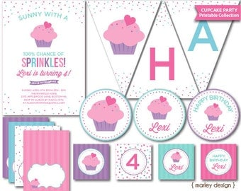 Cupcake Party Decorations Printable Cupcake Birthday Cupcake Decor Cupcake Decorations Baking Party Girls Birthday Personalized Customized