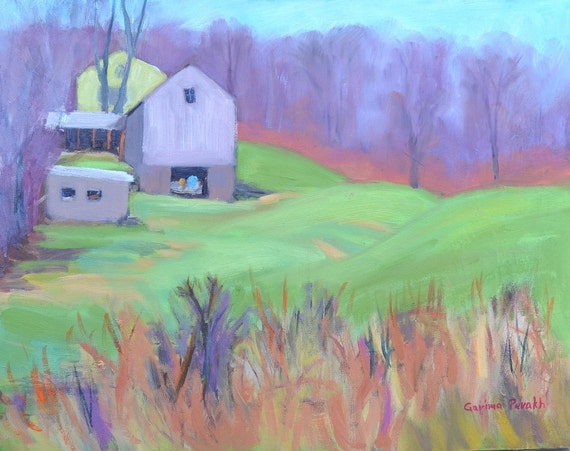 "Landscape painting oil, original oil,  New England barn, farm 11"" X 14""  country landscape house grass field nature art by Garima Parakh"