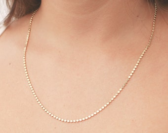 Gold Chain Necklace Dainty gold bead necklace everyday necklace Layering Necklace 24k gold plated jewelry.