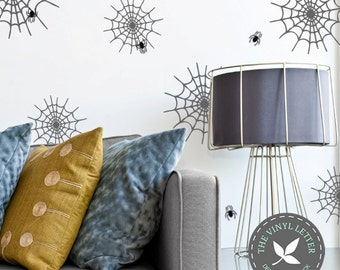 Spider Webs and Spiders Halloween Decor | Vinyl Wall Home Decor Decal Sticker