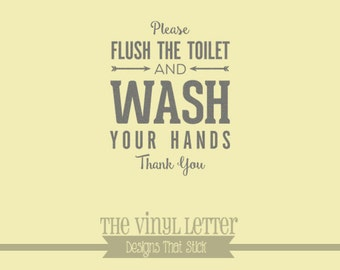 Please Flush Toilet and Wash Your Hands Bathroom Vinyl Wall Decor Decal Sticker