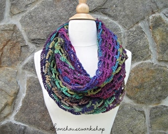 Soft and light Infinity scarf - crochet - olive green - women's scarf - purple