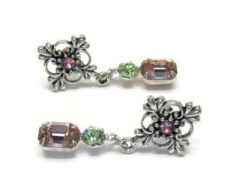 Pink and green Swarovski crystal earrings gift ideas for her silver plated