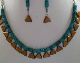 Aqua Turquoise Tube Bead Necklace and Earrings with Picasso Czech Glass Mustard Brown Blue Triangle Beads