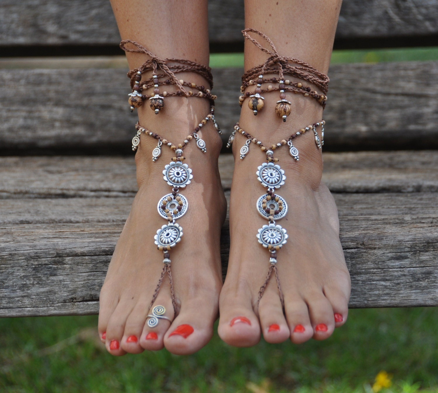 Earth Mandala Barefoot Sandals Foot Jewelry Hippie Sandals Toe