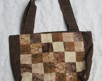 Coffee and Cream Patchwork tote