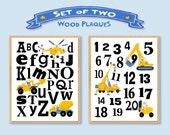 """Kids Construction Alphabet And Numbers 8""""x10"""" Wooden Art Plaques 'Set Of 2' Letters Numbers Construction Vehicles Boys Wall Art Home Decor"""