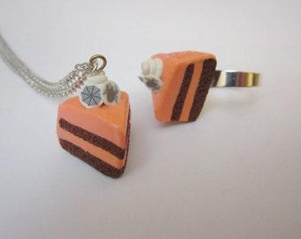 Halloween cake jewelry set, Halloween jewelry, food necklace, food ring, cake jewery,