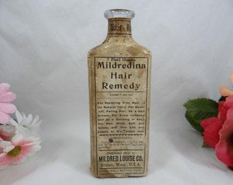 Vintage Antique 7oz Mildredina Hair Remedy Bottle with Original label - Great Condition