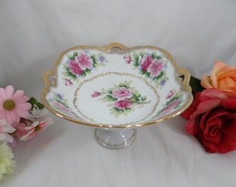 Vintage Dresden Garland Compote Candy Dish Fruit Bowl