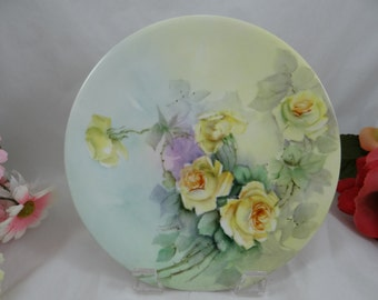"Vintage Jean Pouyat Limoges France Hand Painted Artist Signed ""Tremaine"" Yellow Rose Small Plate c1891 - 1932"