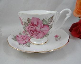 1960s Vintage English Queen Anne Bone China Pink Rose Teacup English Teacup and Saucer English Tea cup