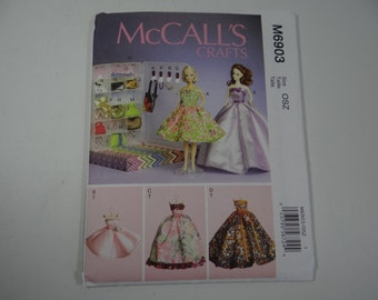 New Uncut FF McCall's 6903 Pattern - Fashion Doll Closet Dress and Accessory Pattern - Hat Belt Purse Necklace - Accessory Box - Clothes Box