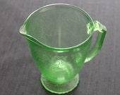 vintage green depression glass pitcher Florentine #2 pattern