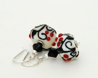 Black and White and Red Lampwork Glass Earrings - Sterling Silver Earwires - Handmade Jewelry