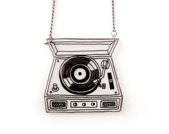 Retro Record Player Shrink Plastic Necklace (transparency)