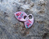 Rosie Posy - Enameled Charms in Pinks, Torch Fired Earring Components, Frit, Murrini, Boho Rustic Artisan, hiddenfirepottery