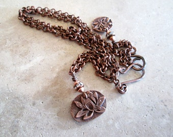 Antiqued Copper Lotus Necklace, Lotus Charms, Yoga Jewelry, Lotus Pendant, Meditation, hiddenfirepottery