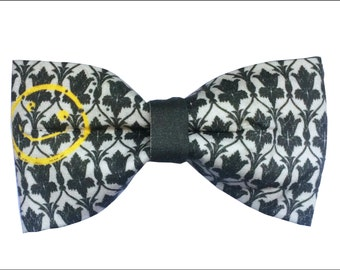 Sherlock Bored Smiley Face Inspired Sherlock Hair Bow or Bow Tie BBC Wallpaper Geeky Fabric Bow