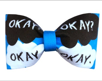 The Fault In Our Stars by John Green Inspired Hair Bow or Bow Tie TFIOS Okay Geeky Fabric Bow