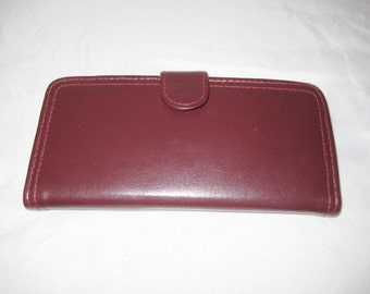 Vintage leather wallet, oxblood leather wallet with calculator, burgundy wallet