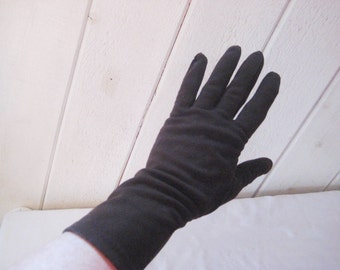 Brown nylon stretch gloves, suede driving gloves, vintage mid length gloves, size 7
