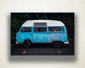 1970's Classic VW Bus Canvas Art, 1970's Bus Wall Art, Old Vehicle Canvas Print, Artwork, Photograph, Canvas Print, Home Art, Wall Art