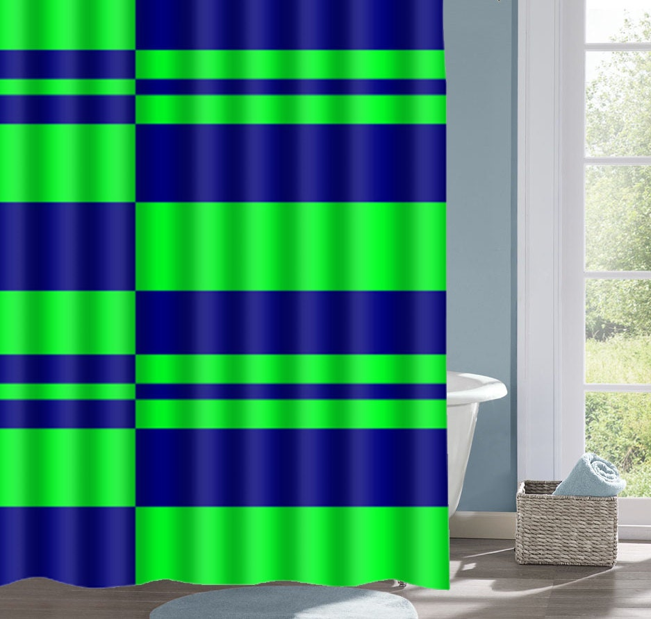 Lime And Navy Shower Curtain Green Striped Bath Curtain Blue