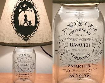 Winnie the Pooh Inspired Mason Jar  Character Lamp