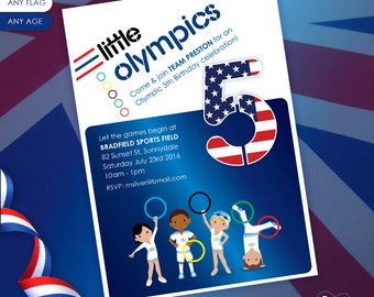 Olympic Sports Gymnastics - Customized Printable Birthday Party Invitation and Address Labels