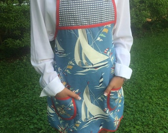 Designer Hostess Chef's Gardening Apron In Nautical Theme