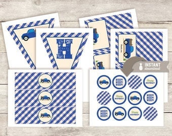 Blue Truck Birthday Party Pack Printables - Instant Download
