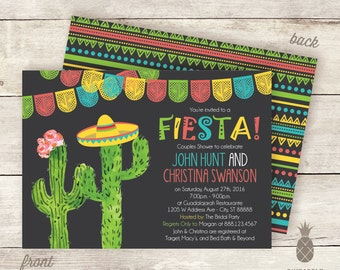 Fiesta Cactus Couples Shower (or Engagement Party) Invitations - Colors Used: Charcoal, Lime, Red-Coral, Yellow and Teal