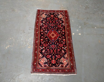 1980s Hand-Knotted Blue Sarouk Persian Rug (3351)