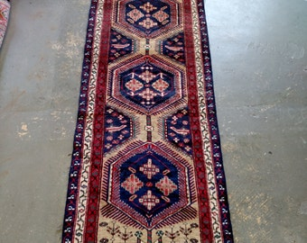 1970s Hand-Knotted Vintage Heriz Persian Rug Runner (3454)