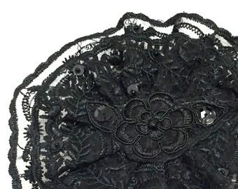 Black Lace Kippah, Black Jewish Head Covering, Black Yarmulke
