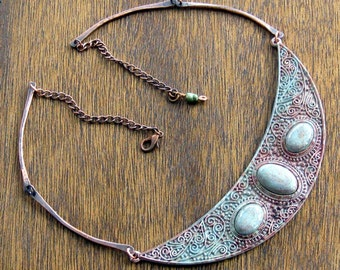 Celtic Queen Crescent Moon Copper Necklace,Boho Jewelry