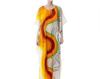 Vintage 60s Alice Polynesian Atomic Swirl Print Pleated Caftan Dress 1960s Accordion Pleats Mod Caftan Gypsy Hippie Boho Muumuu