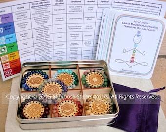 7 Chakra Healing Stone Set, Chakra Stones Kit, Healing Tool, Crystal Healing Stone Disc Chakra Balancing Meditation Instruction Cards Wood