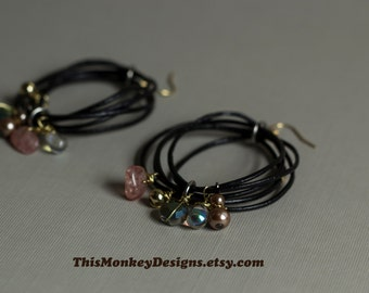 The Traveler - Leather cord earrings / jewelry / silver earrings / girfts for women / hoop earrings / swarovski / gemstone / bohemian