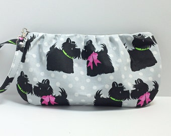 Gathered Wristlet / pouch - Dog love
