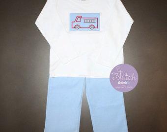 Blue Corduroy Pants Set with Firetruck Patch Applique