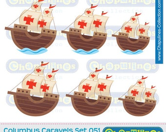 60% off Clipart Columbus Ships Caravels La Niña, Pinta and Santa Maria, caravels illustrations, school images Set 051