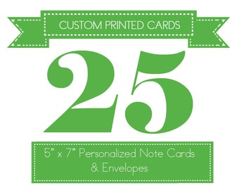 Custom Printed Note Cards with Envelopes - Personalized with Your Child's Name and Custom Messages in TRACEABLE FONT   25 Card Set