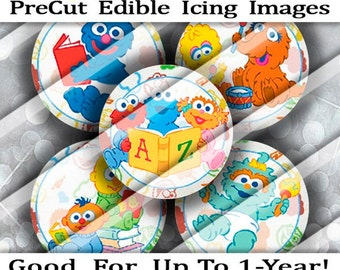 PreCut Edible Icing Stickers Frosted Image Mini Standard Cupcake Oreo Cookie Cake Pop Lollipop Toppers Baby Cartoon Monsters Birthday Favors