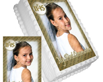 Personalized Edible Icing Frosting Image Sticker Decal Decoration (Add Your Own Photo) Cake Topper Baptism First Holy Communion (2 Sizes)