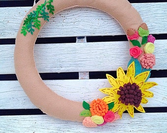 Autumn Wreath. Fall Wreath. Felt Flowers. Felt Sunflower